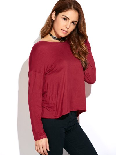Twisted Open Back Long Sleeve T-Shirt - RED XL Mobile