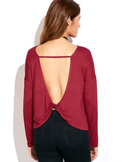 Twisted Open Back Long Sleeve T-Shirt - RED L Mobile