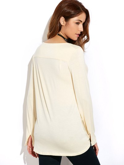 Twisted Front Long Sleeve T-Shirt - OFF-WHITE XL Mobile
