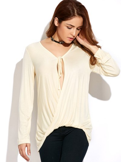 Twisted Front Long Sleeve T-Shirt - OFF-WHITE S Mobile