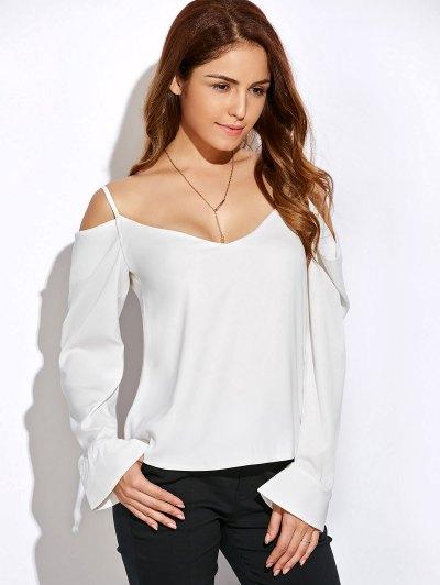 V Neck Cold Shoulder Long Sleeves Top - WHITE L Mobile