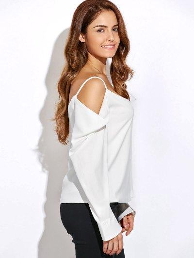 V Neck Cold Shoulder Long Sleeves Top - WHITE M Mobile
