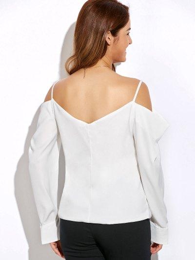 V Neck Cold Shoulder Long Sleeves Top - WHITE S Mobile