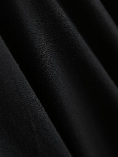 Gloved Sleeve Uneven Hem T-Shirt - BLACK M Mobile
