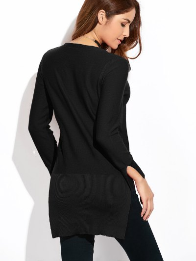 Long Loose High-Low Sweater - BLACK XL Mobile