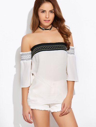 Off Shoulder Tunic Blouse - WHITE L Mobile