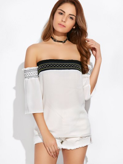 Off Shoulder Tunic Blouse - WHITE M Mobile