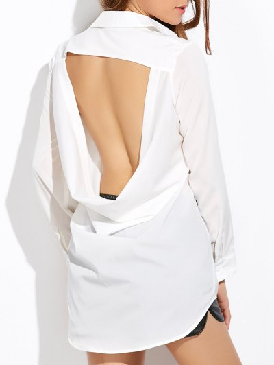 High Low Cut Out Shirt - WHITE S Mobile