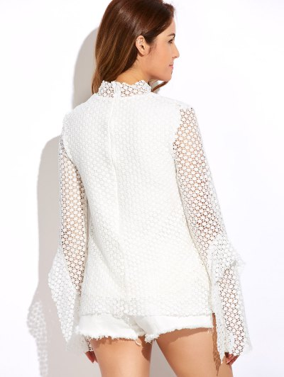 Bell Sleeve Hollow Out Blouse - WHITE L Mobile