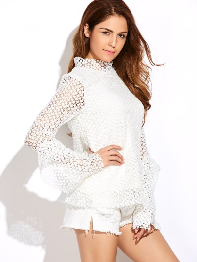 Bell Sleeve Hollow Out Blouse - WHITE M Mobile
