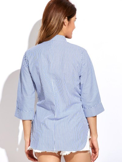Striped Buttoned Oversized Blouse - BLUE AND WHITE XL Mobile