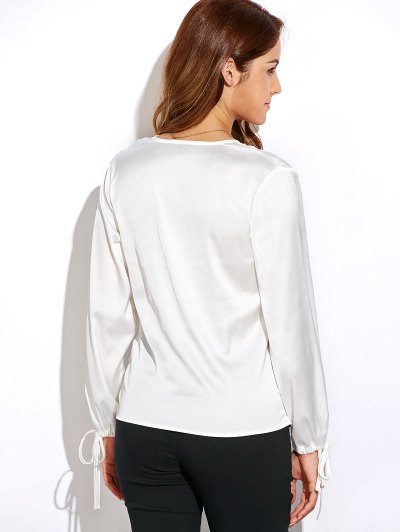 Crossover Long Sleeve Chiffon Top - WHITE S Mobile
