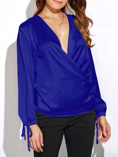 Crossover Long Sleeve Chiffon Top - BLUE 2XL Mobile