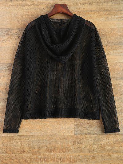 Hooded Sheer Mesh Top - BLACK L Mobile