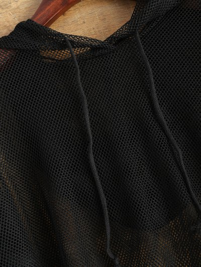 Hooded Sheer Mesh Top - BLACK M Mobile
