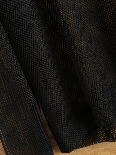 Hooded Sheer Mesh Top - BLACK S Mobile