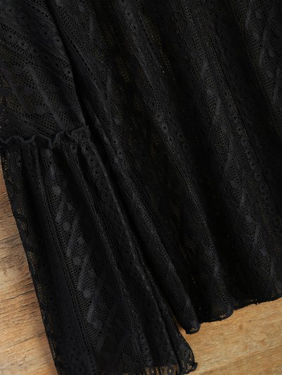 Bell Sleeve Sheer Lace Top - BLACK L Mobile