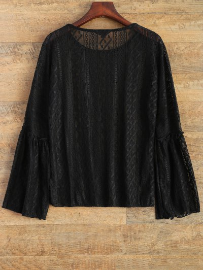 Bell Sleeve Sheer Lace Top - BLACK S Mobile