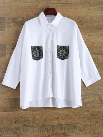 Embroidery Oversized Shirt With Pockets - WHITE M Mobile