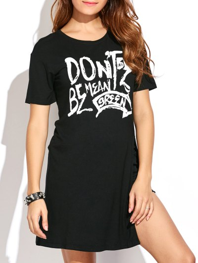 High Slit Graphic Long T-Shirt - BLACK M Mobile