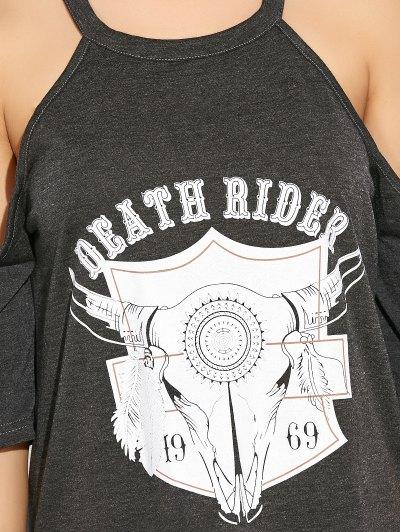 Cold Shoulder Graphic T-Shirt Dress - DEEP GRAY XL Mobile