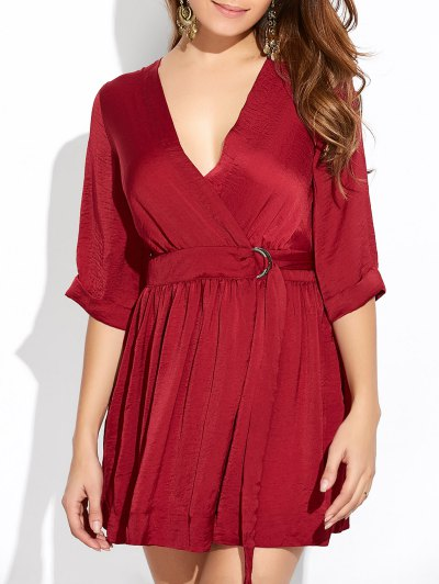Wrap A-Line Dress - WINE RED L Mobile