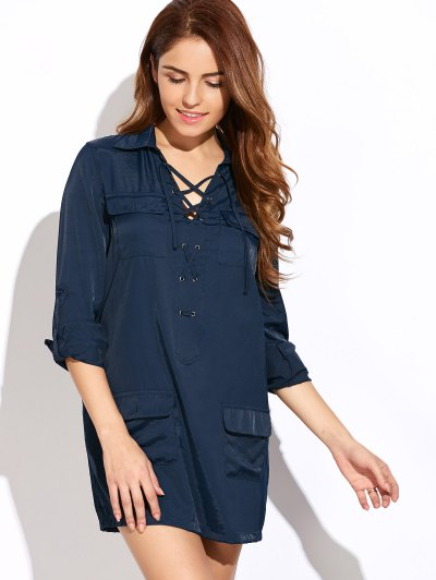 Loose Pockets Lace-Up Dress - BLUE 2XL Mobile