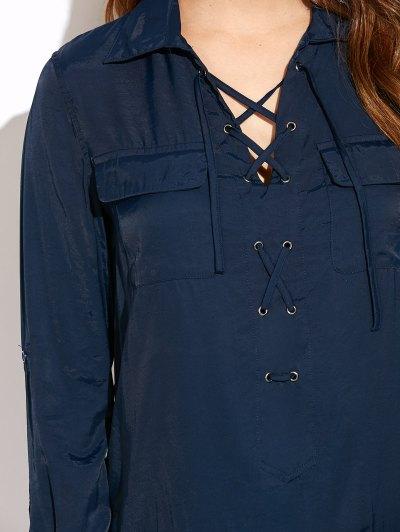 Loose Pockets Lace-Up Dress - BLUE L Mobile
