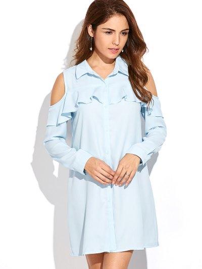 Cold Shoulder Ruffled Shirt Dress - LIGHT BLUE XL Mobile