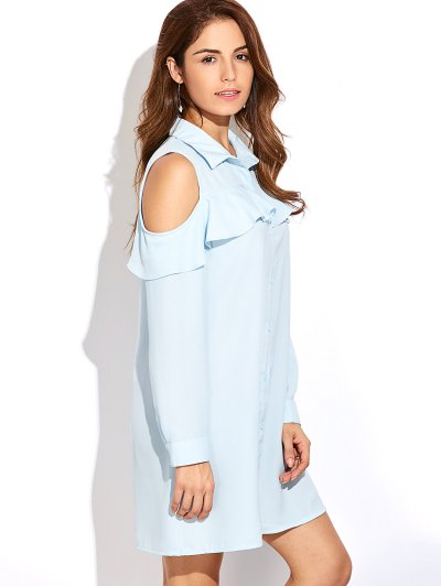 Cold Shoulder Ruffled Shirt Dress - LIGHT BLUE L Mobile
