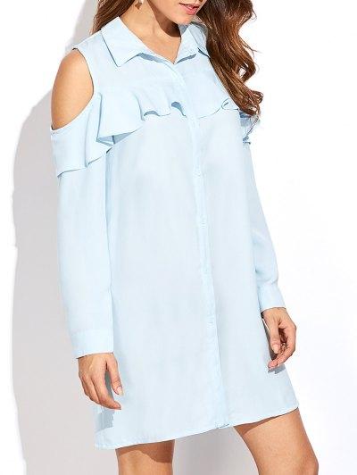 Cold Shoulder Ruffled Shirt Dress - Light Blue