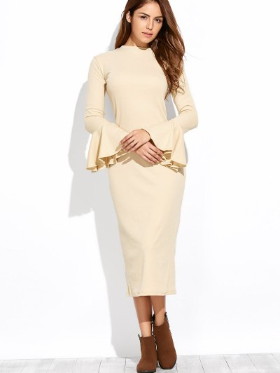 Bell Sleeve Midi Pencil Dress - APRICOT L Mobile