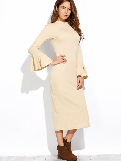 Bell Sleeve Midi Pencil Dress - APRICOT S Mobile