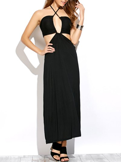 Twist Halter Cut Out Maxi Dress - BLACK L Mobile