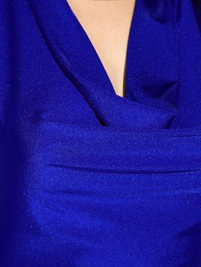 High Slit Draped Maxi Prom Dress - SAPPHIRE BLUE XL Mobile