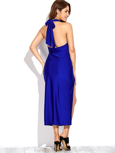 High Slit Draped Maxi Prom Dress - SAPPHIRE BLUE S Mobile
