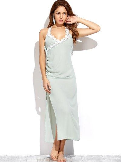 Draped Open Back Prom Dress - LIGHT GREEN XL Mobile