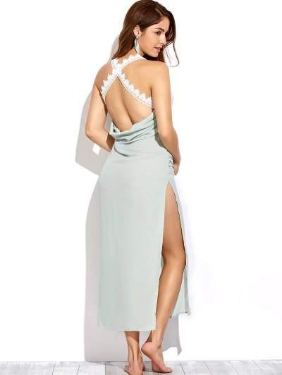 Draped Open Back Prom Dress - LIGHT GREEN S Mobile