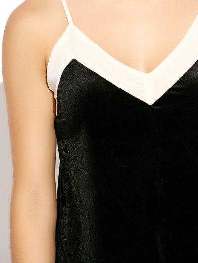 Mesh Trim Velvet Cami Dress - BLACK S Mobile
