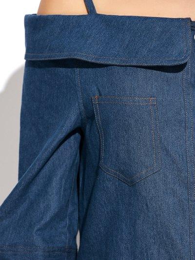 Button Up Off The Shoulder Denim Dress - BLUE XL Mobile