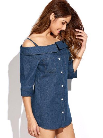 Button Up Off The Shoulder Denim Dress - BLUE L Mobile