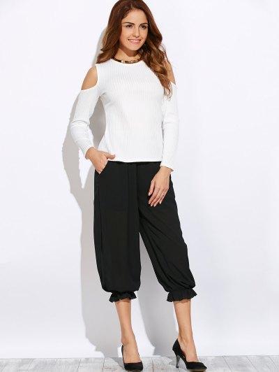 Ribbed Cold Shoulder Knitwear - WHITE L Mobile