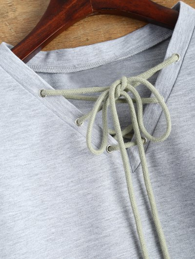 Lace Up Cropped Sweatshirt - GRAY XL Mobile