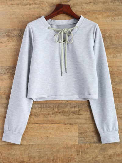 Lace Up Cropped Sweatshirt - GRAY M Mobile