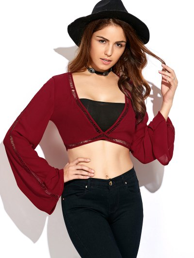 Ladder Crochet Flare Sleeve Crop Top - RED M Mobile