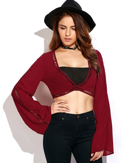 Ladder Crochet Flare Sleeve Crop Top - RED S Mobile