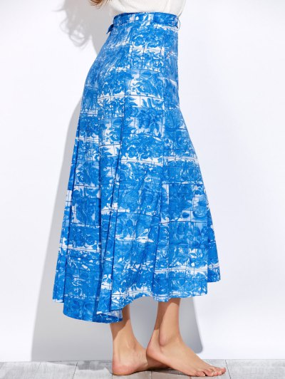 Printed Maxi Skirt - BLUE AND WHITE L Mobile