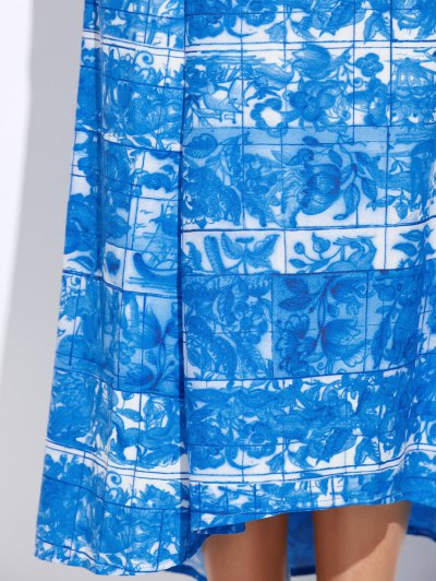 Printed Maxi Skirt - BLUE AND WHITE M Mobile