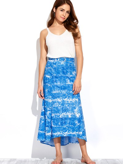 Printed Maxi Skirt - BLUE AND WHITE S Mobile