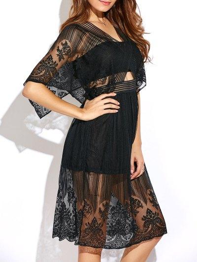 Cutout Waist Lace Dress - BLACK L Mobile